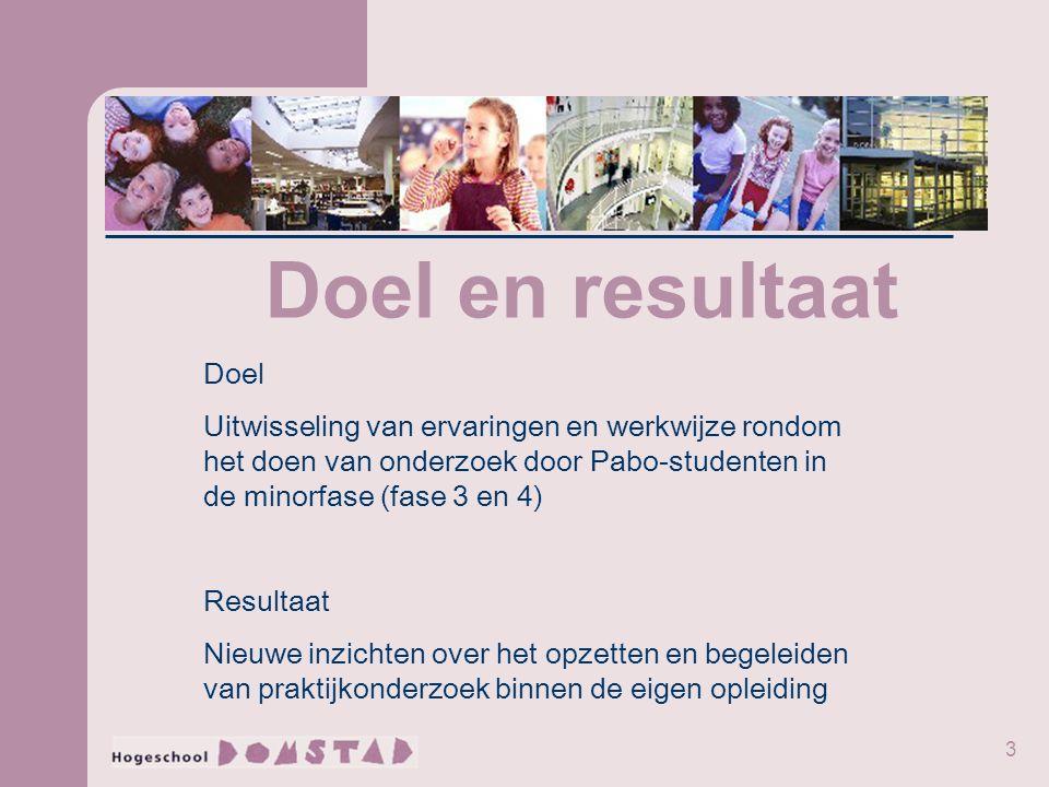 3 Doel en resultaat Doel Uitwisseling van ervaringen en werkwijze rondom het doen van onderzoek door Pabo-studenten in de minorfase (fase 3 en 4) Resultaat Nieuwe inzichten over het opzetten en begeleiden van praktijkonderzoek binnen de eigen opleiding