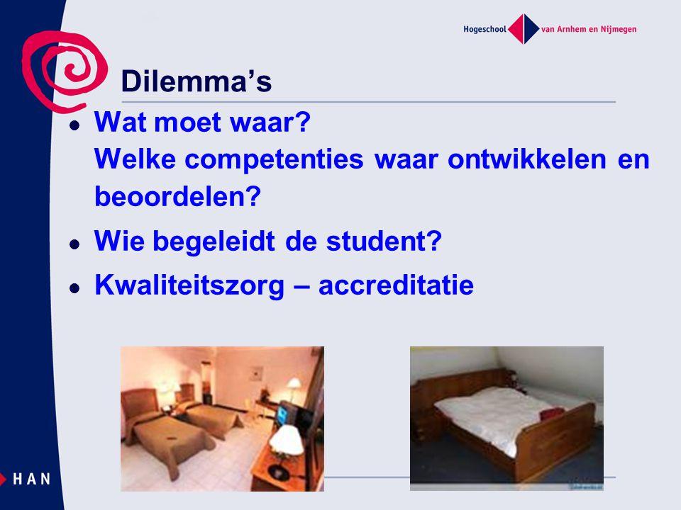 Dilemma's Wat moet waar. Welke competenties waar ontwikkelen en beoordelen.