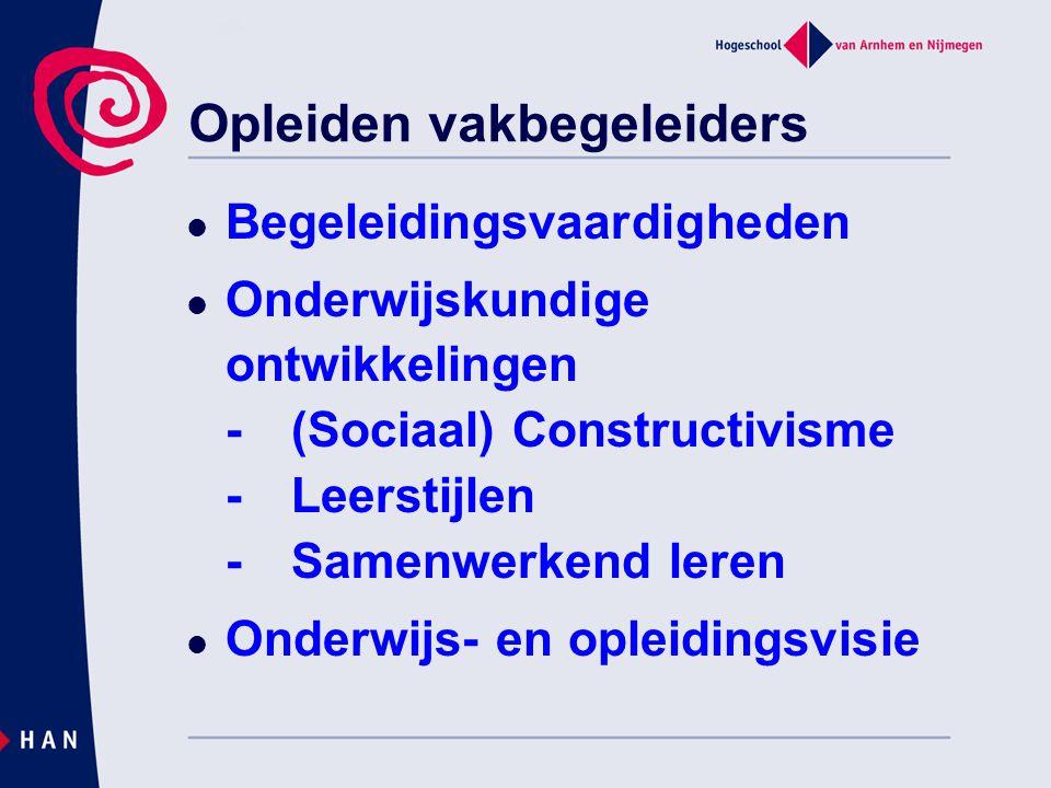 Opleiden vakbegeleiders Begeleidingsvaardigheden Onderwijskundige ontwikkelingen -(Sociaal) Constructivisme -Leerstijlen -Samenwerkend leren Onderwijs- en opleidingsvisie