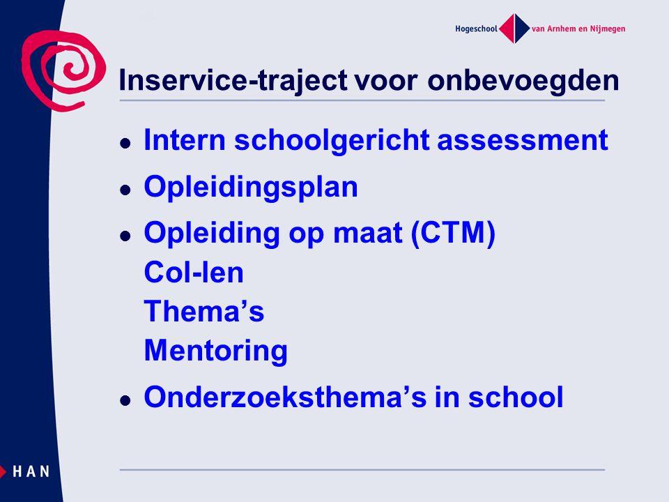 Inservice-traject voor onbevoegden Intern schoolgericht assessment Opleidingsplan Opleiding op maat (CTM) Col-len Thema's Mentoring Onderzoeksthema's in school