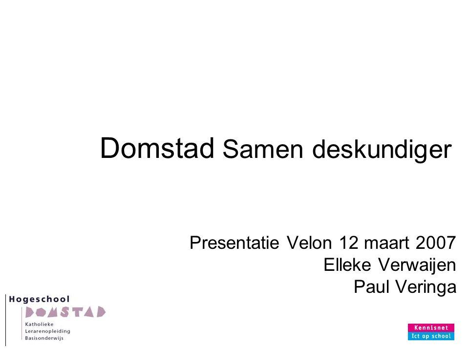 Domstad Samen deskundiger Presentatie Velon 12 maart 2007 Elleke Verwaijen Paul Veringa