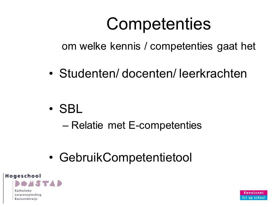 Competenties om welke kennis / competenties gaat het Studenten/ docenten/ leerkrachten SBL –Relatie met E-competenties GebruikCompetentietool
