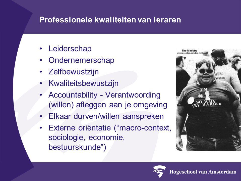 Professionele kwaliteiten van leraren Leiderschap Ondernemerschap Zelfbewustzijn Kwaliteitsbewustzijn Accountability - Verantwoording (willen) aflegge