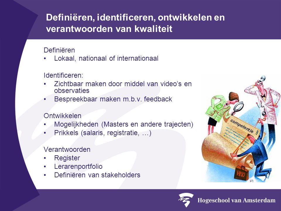 Definiëren, identificeren, ontwikkelen en verantwoorden van kwaliteit Definiëren Lokaal, nationaal of internationaal Identificeren: Zichtbaar maken do
