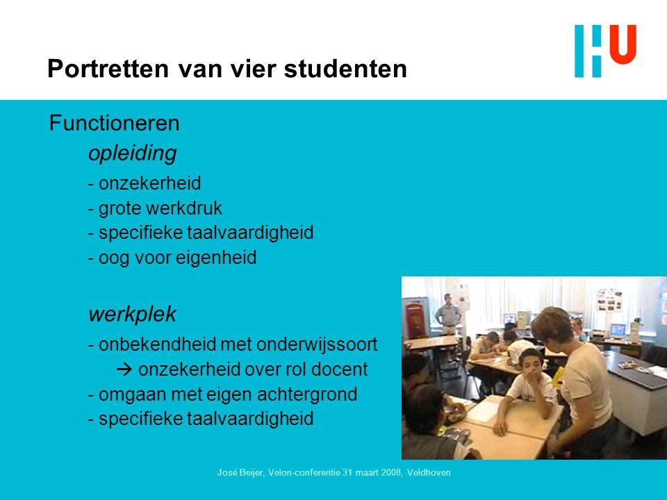 José Beijer, Velon-conferentie 31 maart 2008, Veldhoven Portretten van vier studenten Functioneren opleiding - onzekerheid - grote werkdruk - specifieke taalvaardigheid - oog voor eigenheid werkplek - onbekendheid met onderwijssoort  onzekerheid over rol docent - omgaan met eigen achtergrond - specifieke taalvaardigheid
