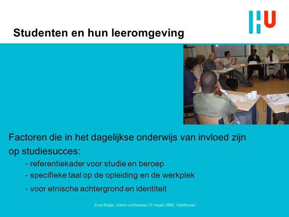 José Beijer, Velon-conferentie 31 maart 2008, Veldhoven Studenten en hun leeromgeving Factoren die in het dagelijkse onderwijs van invloed zijn op studiesucces: - referentiekader voor studie en beroep - specifieke taal op de opleiding en de werkplek - voor etnische achtergrond en identiteit