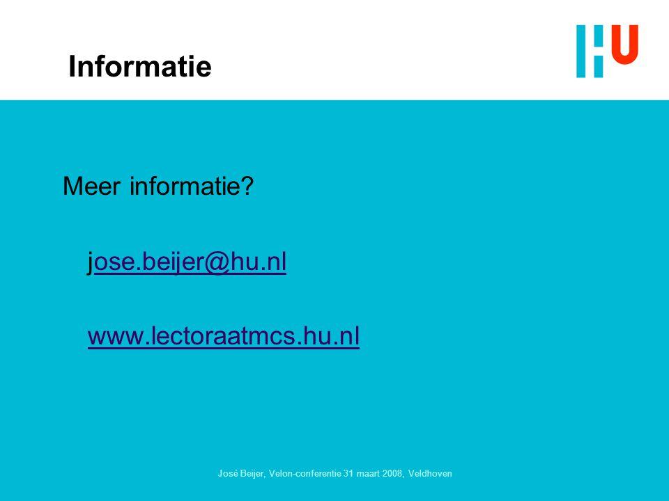 José Beijer, Velon-conferentie 31 maart 2008, Veldhoven Informatie Meer informatie.