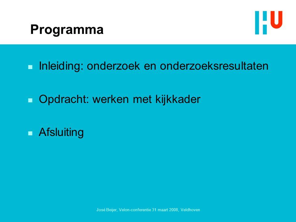José Beijer, Velon-conferentie 31 maart 2008, Veldhoven Programma n Inleiding:onderzoek en onderzoeksresultaten n Opdracht: werken met kijkkader n Afsluiting