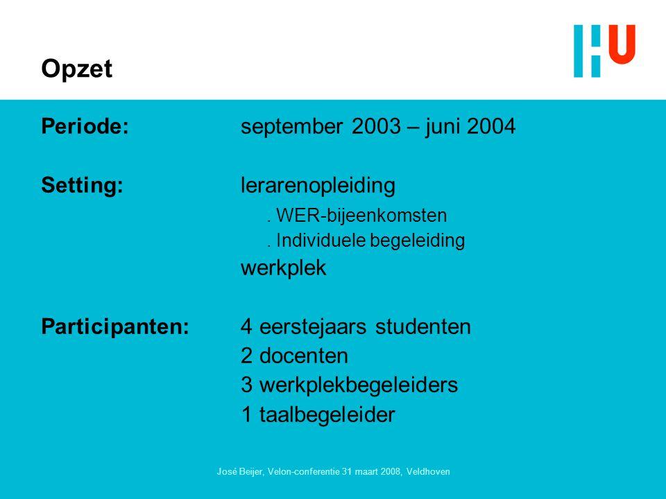 José Beijer, Velon-conferentie 31 maart 2008, Veldhoven Opzet Periode:september 2003 – juni 2004 Setting:lerarenopleiding.