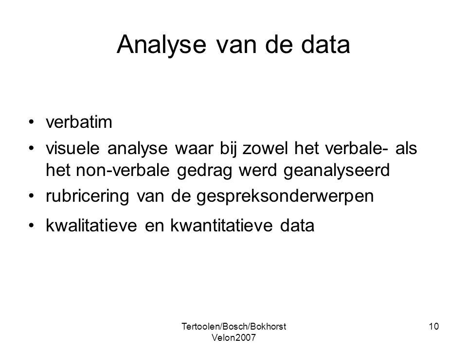 Tertoolen/Bosch/Bokhorst Velon2007 10 Analyse van de data verbatim visuele analyse waar bij zowel het verbale- als het non-verbale gedrag werd geanaly