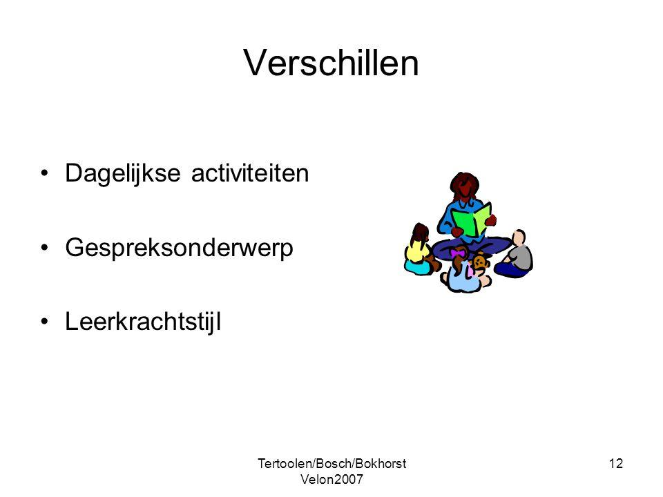 Tertoolen/Bosch/Bokhorst Velon2007 12 Verschillen Dagelijkse activiteiten Gespreksonderwerp Leerkrachtstijl