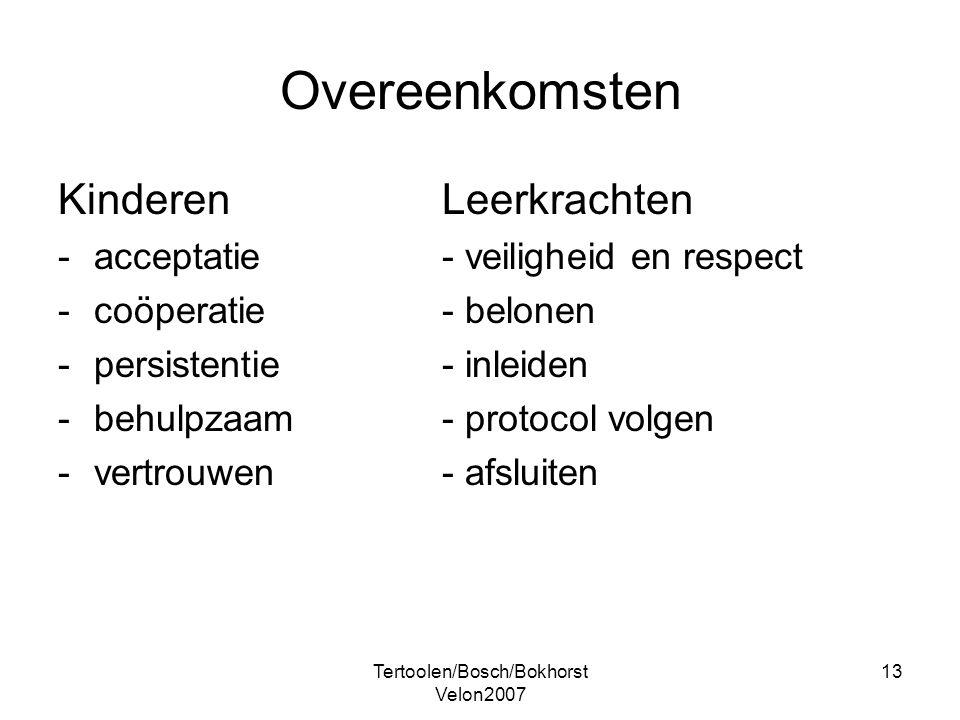 Tertoolen/Bosch/Bokhorst Velon2007 13 Overeenkomsten KinderenLeerkrachten -acceptatie- veiligheid en respect -coöperatie- belonen -persistentie- inlei
