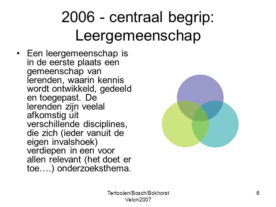 Tertoolen/Bosch/Bokhorst Velon2007 6 2006 - centraal begrip: Leergemeenschap Een leergemeenschap is in de eerste plaats een gemeenschap van lerenden,