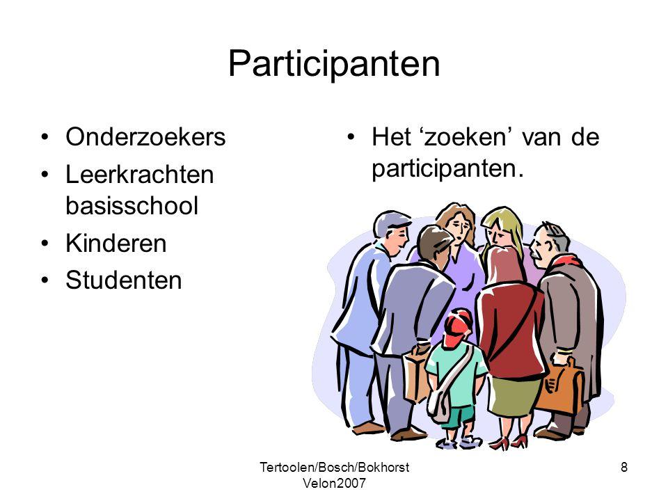 Tertoolen/Bosch/Bokhorst Velon2007 8 Participanten Onderzoekers Leerkrachten basisschool Kinderen Studenten Het 'zoeken' van de participanten.