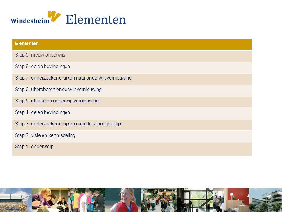 Elementen Stap 9: nieuw onderwijs Stap 8: delen bevindingen Stap 7: onderzoekend kijken naar onderwijsvernieuwing Stap 6: uitproberen onderwijsvernieu