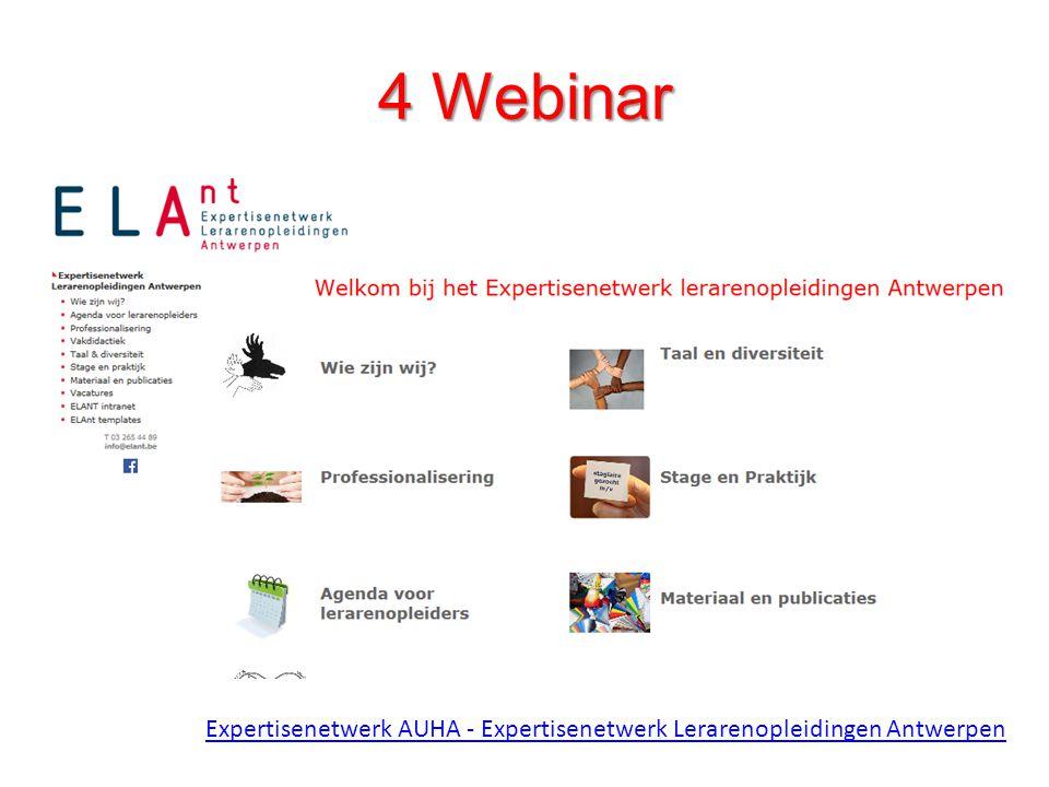 4 Webinar Expertisenetwerk AUHA - Expertisenetwerk Lerarenopleidingen Antwerpen