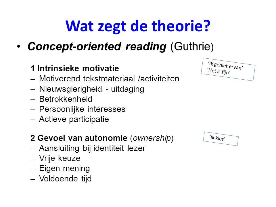 Wat zegt de theorie? Concept-oriented reading (Guthrie ) 1 Intrinsieke motivatie –Motiverend tekstmateriaal /activiteiten –Nieuwsgierigheid - uitdagin