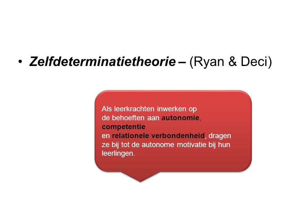 Zelfdeterminatietheorie – (Ryan & Deci) Als leerkrachten inwerken op de behoeften aan autonomie, competentie en relationele verbondenheid, dragen ze b