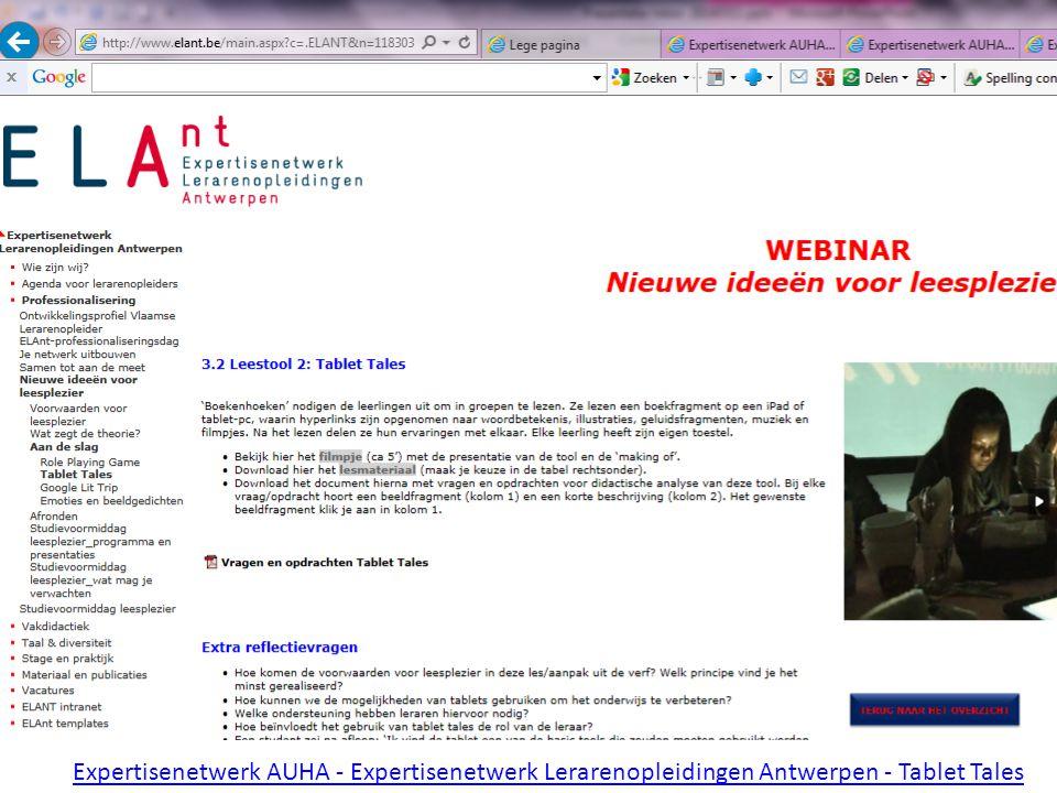 Expertisenetwerk AUHA - Expertisenetwerk Lerarenopleidingen Antwerpen - Tablet Tales