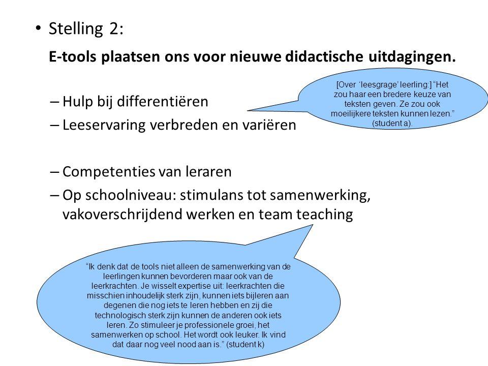 Stelling 2: E-tools plaatsen ons voor nieuwe didactische uitdagingen. – Hulp bij differentiëren – Leeservaring verbreden en variëren – Competenties va