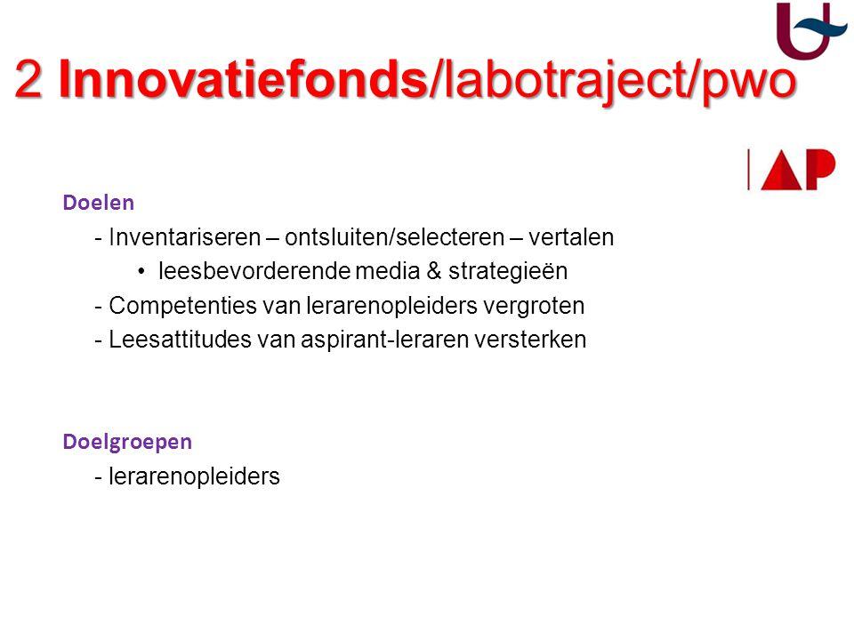 2 Innovatiefonds/labotraject/pwo 2 Innovatiefonds/labotraject/pwo Doelen - Inventariseren – ontsluiten/selecteren – vertalen leesbevorderende media &