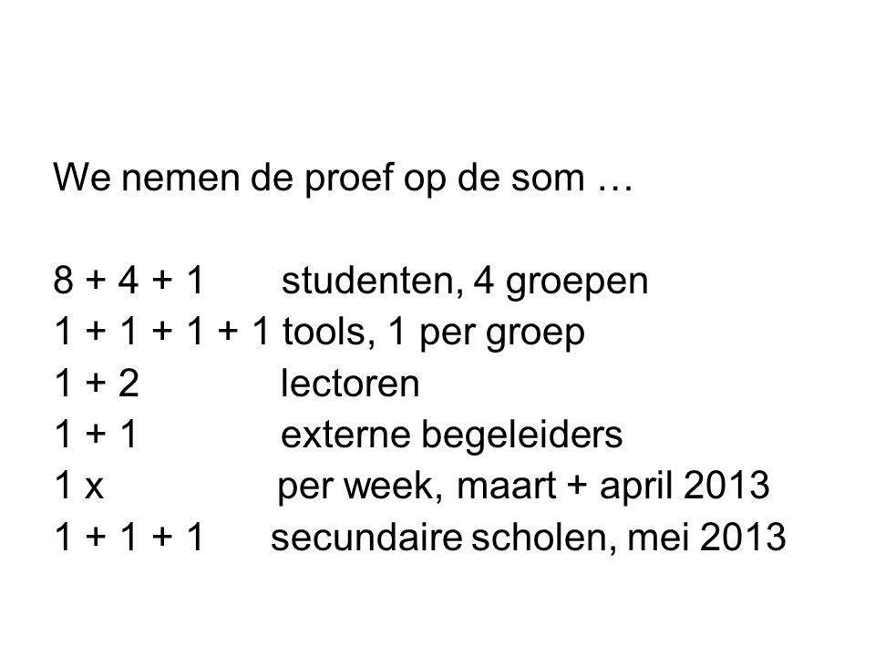 We nemen de proef op de som … 8 + 4 + 1 studenten, 4 groepen 1 + 1 + 1 + 1 tools, 1 per groep 1 + 2 lectoren 1 + 1 externe begeleiders 1 x per week, m