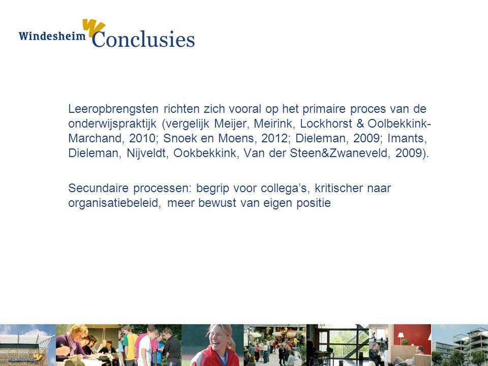 Conclusies Leeropbrengsten richten zich vooral op het primaire proces van de onderwijspraktijk (vergelijk Meijer, Meirink, Lockhorst & Oolbekkink- Mar
