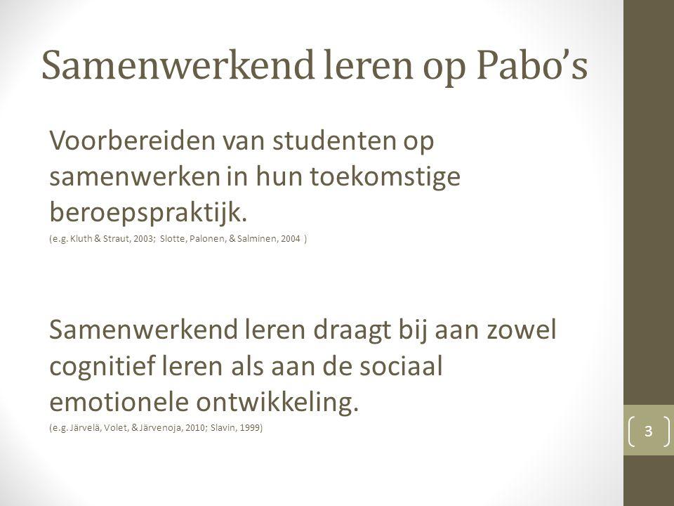 Samenwerkend leren op Pabo's Voorbereiden van studenten op samenwerken in hun toekomstige beroepspraktijk.