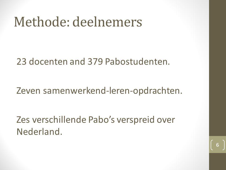 Methode: deelnemers 23 docenten and 379 Pabostudenten.