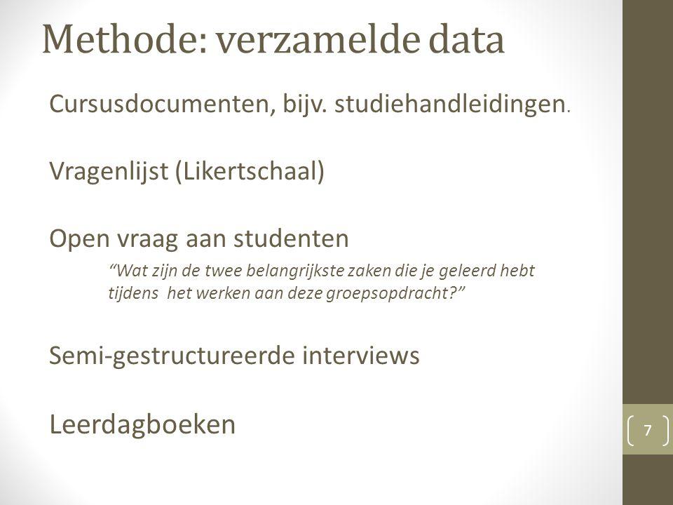 Methode: verzamelde data Cursusdocumenten, bijv. studiehandleidingen.