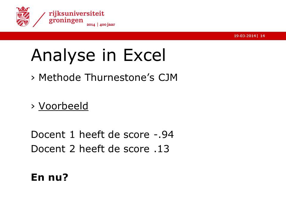 |19-03-2014 Analyse in Excel ›Methode Thurnestone's CJM ›VoorbeeldVoorbeeld Docent 1 heeft de score -.94 Docent 2 heeft de score.13 En nu? 14