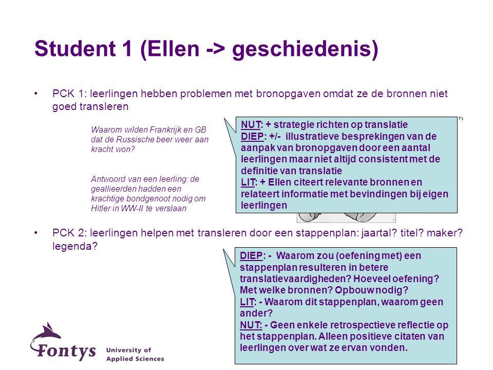 Student 1 (Ellen -> geschiedenis) PCK 1: leerlingen hebben problemen met bronopgaven omdat ze de bronnen niet goed transleren PCK 2: leerlingen helpen