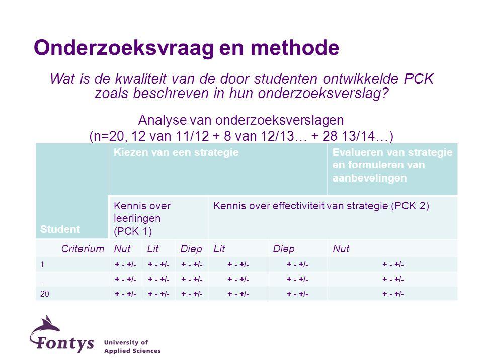 Analysekader kwaliteit PCK Onderzoeksfas e Kiezen van een strategieEvalueren van strategie en formuleren van aanbevelingen PCK componentKennis over leerlingen (PCK 1) Kennis over effectiviteit strategie (PCK 2) CriteriaGebruik van (LIT) Worden empirische gegevens geconfronteerd met inzichten uit literatuur.
