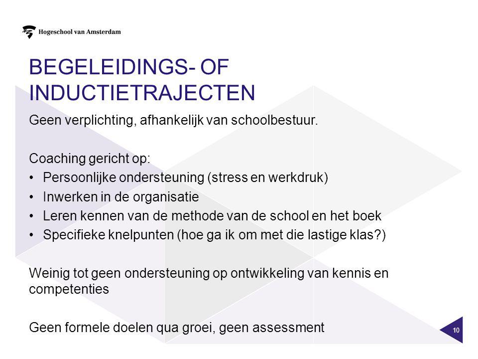 BEGELEIDINGS- OF INDUCTIETRAJECTEN Geen verplichting, afhankelijk van schoolbestuur. Coaching gericht op: Persoonlijke ondersteuning (stress en werkdr