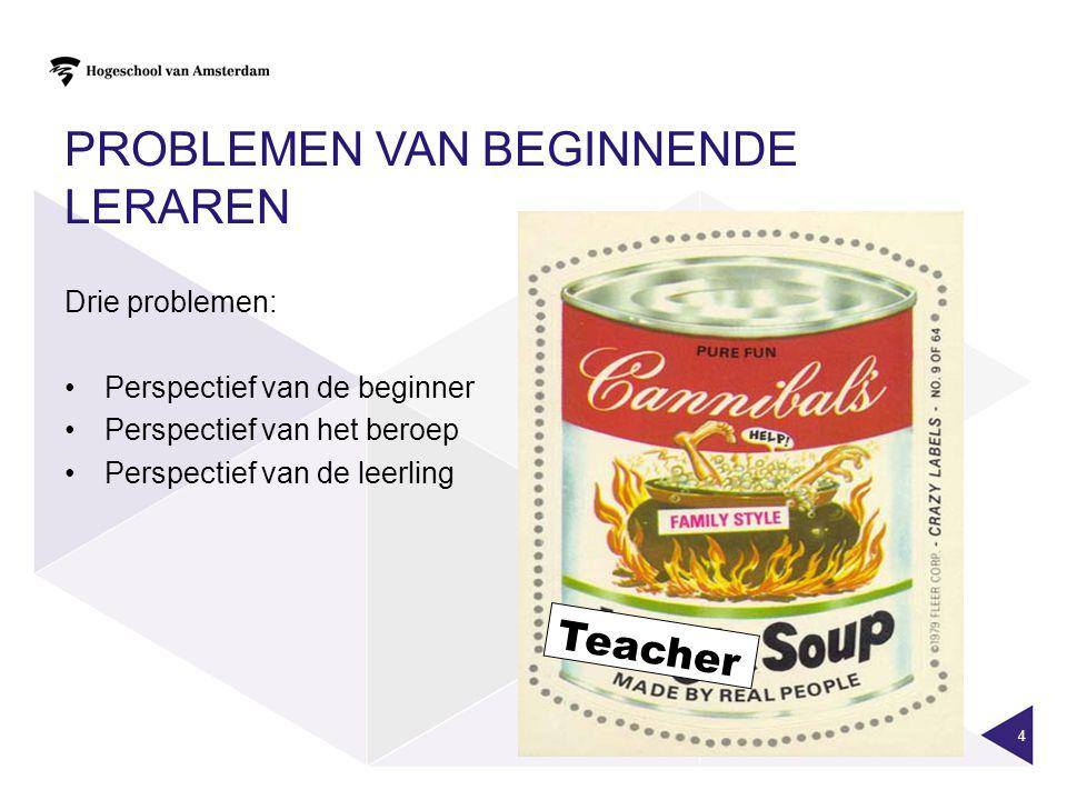 PROBLEMEN VAN BEGINNENDE LERAREN Drie problemen: Perspectief van de beginner Perspectief van het beroep Perspectief van de leerling 4 Teacher