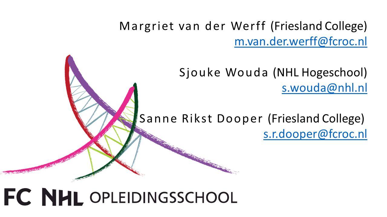 Margriet van der Werff (Friesland College) m.van.der.werff@fcroc.nl Sjouke Wouda (NHL Hogeschool) s.wouda@nhl.nl Sanne Rikst Dooper (Friesland College