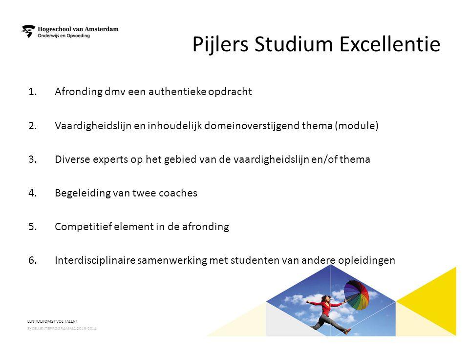 Pijlers Studium Excellentie 1.Afronding dmv een authentieke opdracht 2.Vaardigheidslijn en inhoudelijk domeinoverstijgend thema (module) 3.Diverse exp