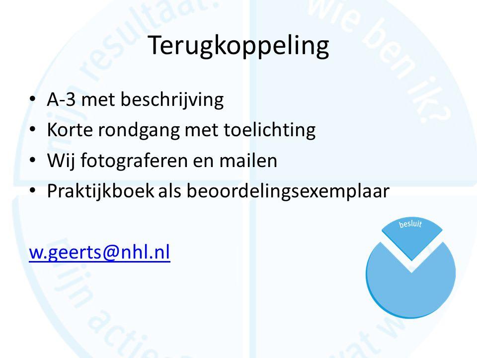Terugkoppeling A-3 met beschrijving Korte rondgang met toelichting Wij fotograferen en mailen Praktijkboek als beoordelingsexemplaar w.geerts@nhl.nl