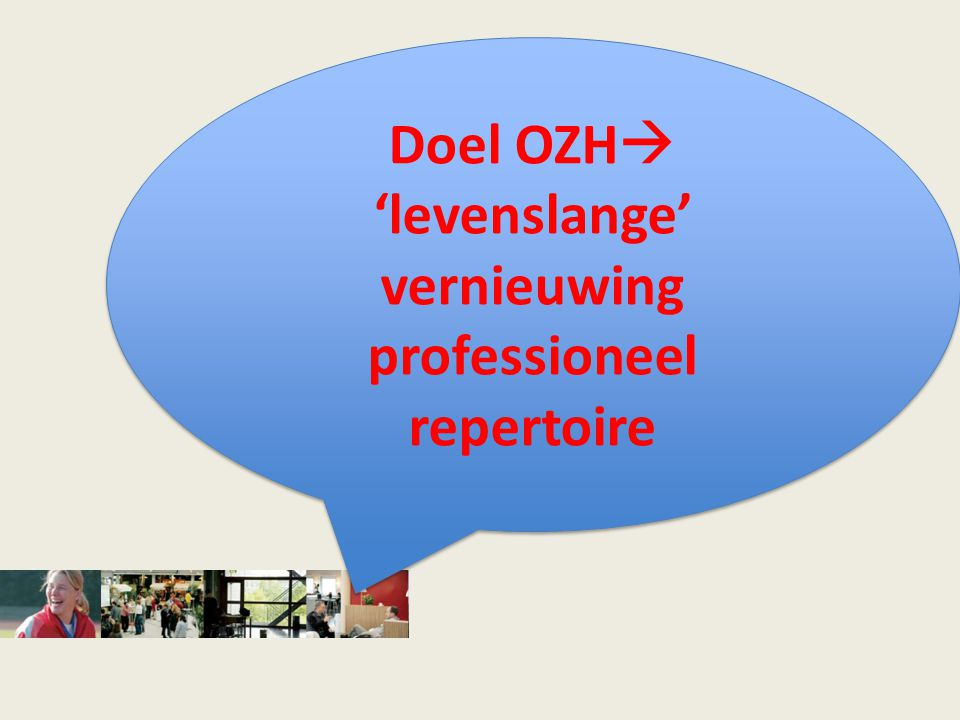 Doel OZH  'levenslange' vernieuwing professioneel repertoire