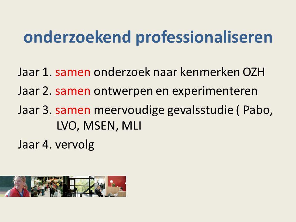 onderzoekend professionaliseren Jaar 1.samen onderzoek naar kenmerken OZH Jaar 2.