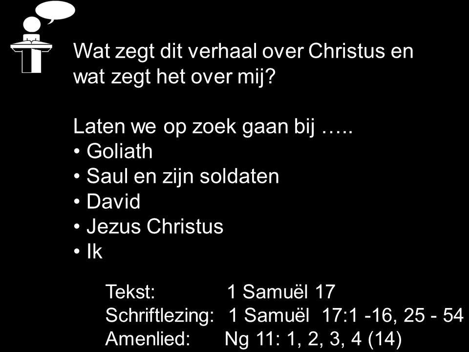 Wat zegt dit verhaal over Christus en wat zegt het over mij? Laten we op zoek gaan bij ….. Goliath Saul en zijn soldaten David Jezus Christus Ik Tekst