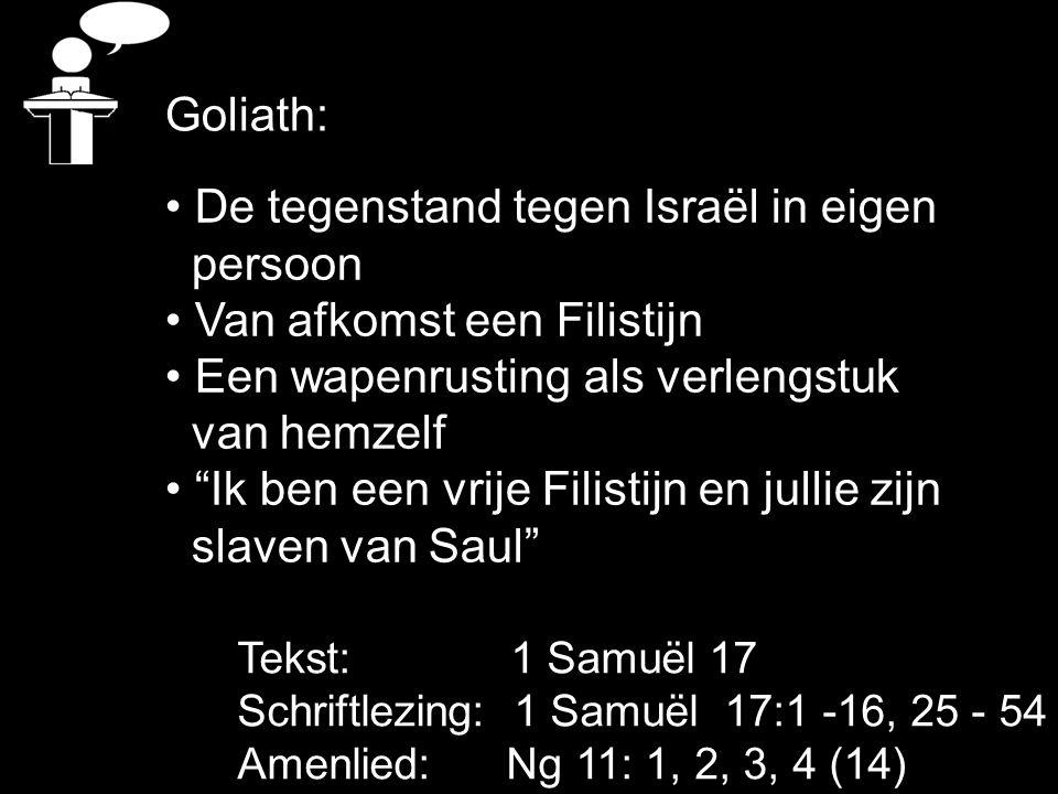 Tekst: 1 Samuël 17 Schriftlezing: 1 Samuël 17:1 -16, 25 - 54 Amenlied: Ng 11: 1, 2, 3, 4 (14) De tegenstand tegen Israël in eigen persoon Van afkomst een Filistijn Een wapenrusting als verlengstuk van hemzelf Ik ben een vrije Filistijn en jullie zijn slaven van Saul Goliath: