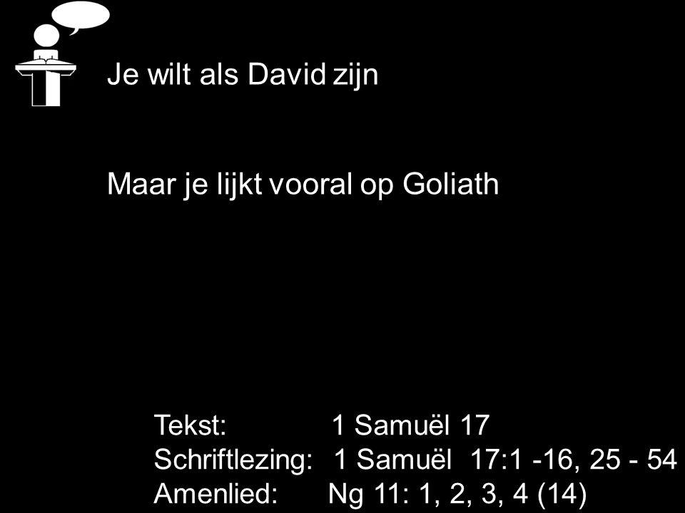 Tekst: 1 Samuël 17 Schriftlezing: 1 Samuël 17:1 -16, 25 - 54 Amenlied: Ng 11: 1, 2, 3, 4 (14) Je wilt als David zijn Maar je lijkt vooral op Goliath