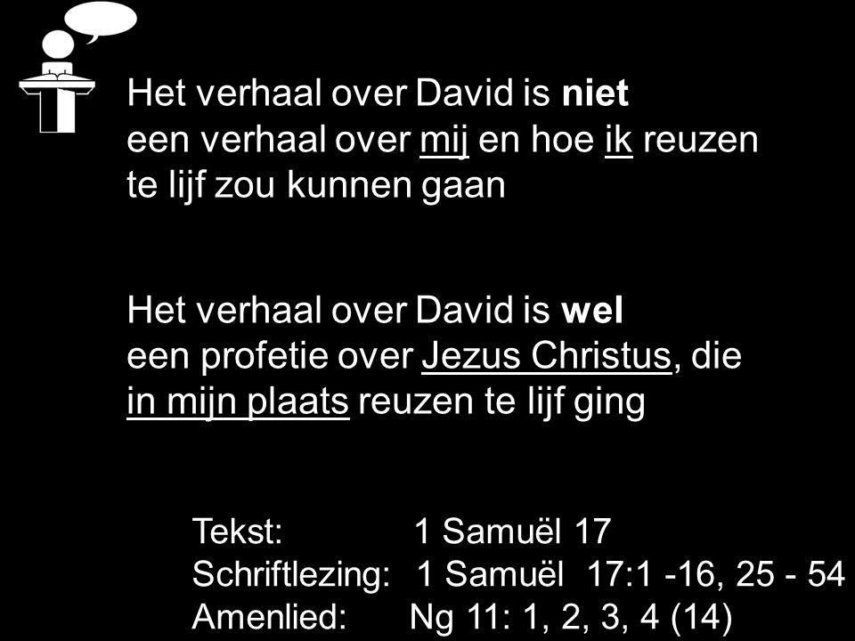 Tekst: 1 Samuël 17 Schriftlezing: 1 Samuël 17:1 -16, 25 - 54 Amenlied: Ng 11: 1, 2, 3, 4 (14) Het verhaal over David is niet een verhaal over mij en hoe ik reuzen te lijf zou kunnen gaan Het verhaal over David is wel een profetie over Jezus Christus, die in mijn plaats reuzen te lijf ging