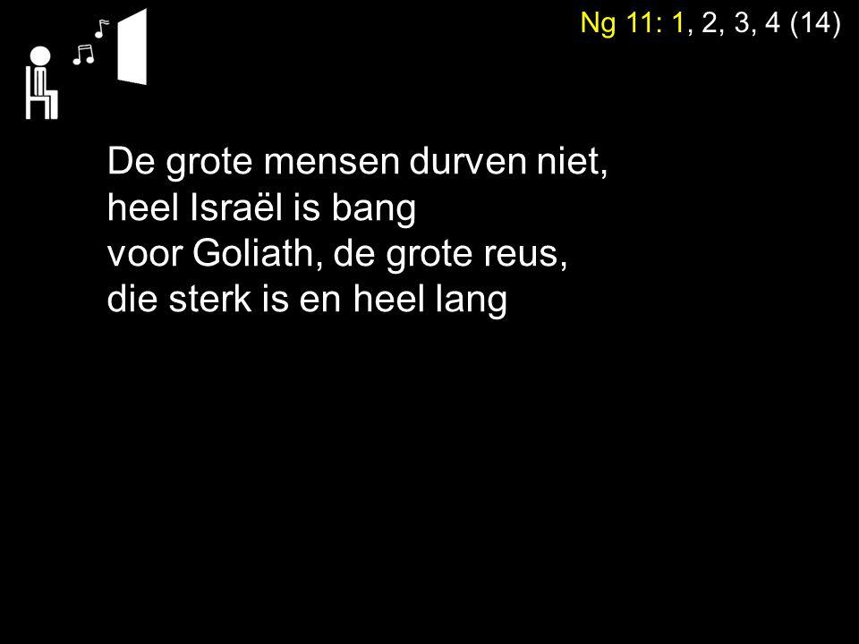 Ng 11: 1, 2, 3, 4 (14) De grote mensen durven niet, heel Israël is bang voor Goliath, de grote reus, die sterk is en heel lang
