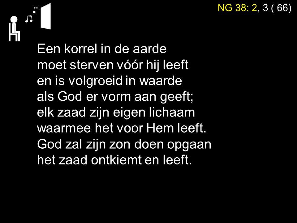 NG 38: 2, 3 ( 66) Een korrel in de aarde moet sterven vóór hij leeft en is volgroeid in waarde als God er vorm aan geeft; elk zaad zijn eigen lichaam