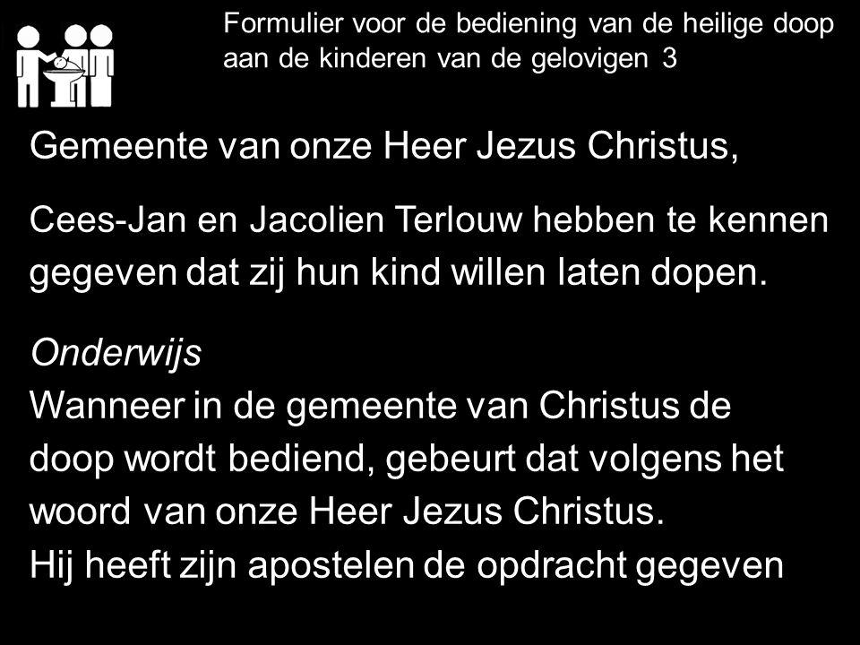 Formulier voor de bediening van de heilige doop aan de kinderen van de gelovigen 3 Gemeente van onze Heer Jezus Christus, Cees-Jan en Jacolien Terlouw