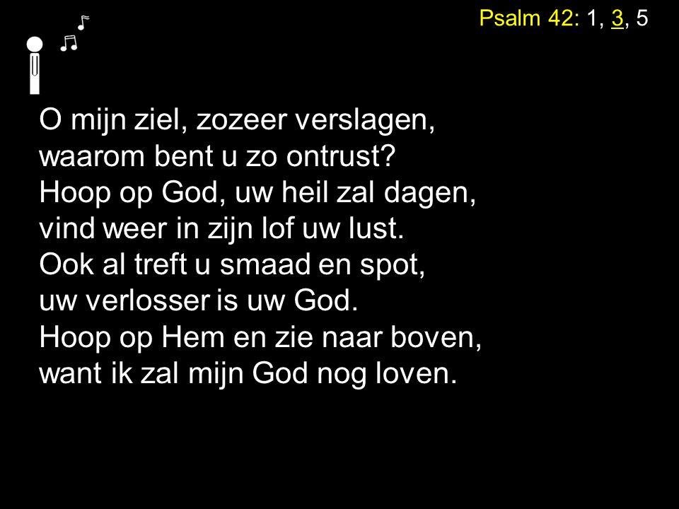 Psalm 42: 1, 3, 5 O mijn ziel, zozeer verslagen, waarom bent u zo ontrust.