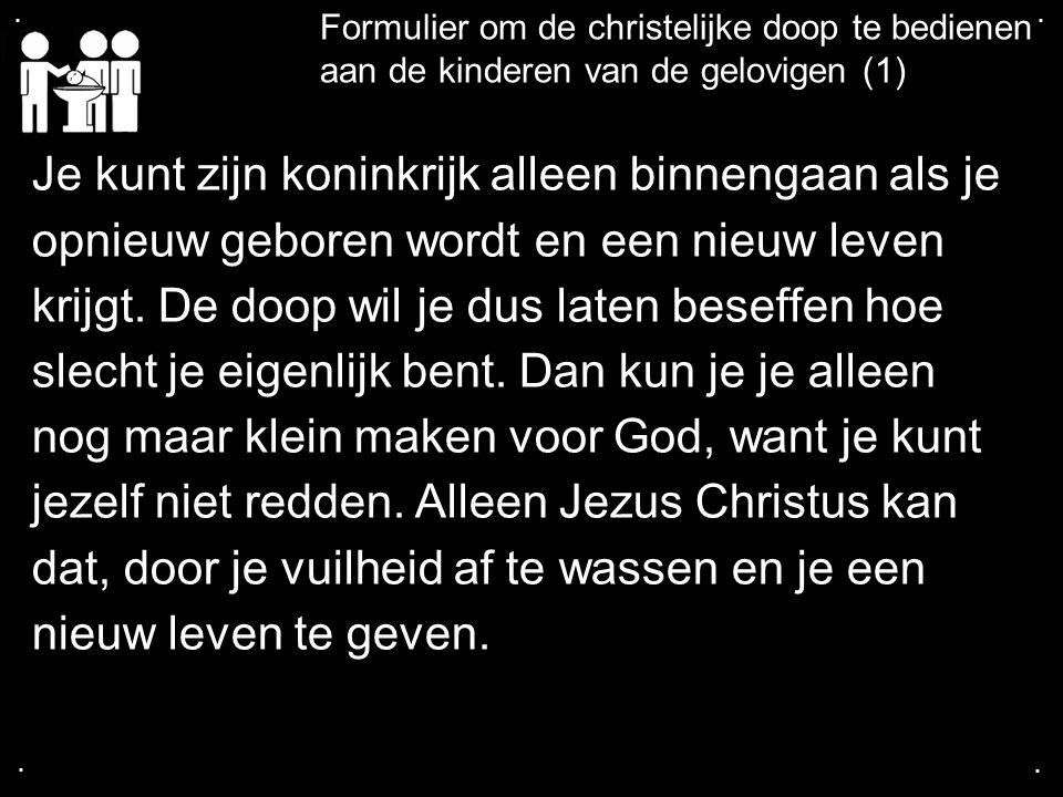 .... Formulier om de christelijke doop te bedienen aan de kinderen van de gelovigen (1) Je kunt zijn koninkrijk alleen binnengaan als je opnieuw gebor