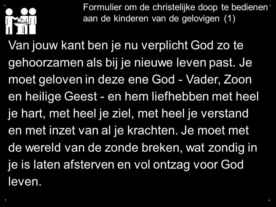 .... Formulier om de christelijke doop te bedienen aan de kinderen van de gelovigen (1) Van jouw kant ben je nu verplicht God zo te gehoorzamen als bi